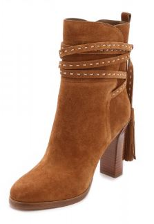 Tan Boots Suede Tassels Chunky Heels for Women 3
