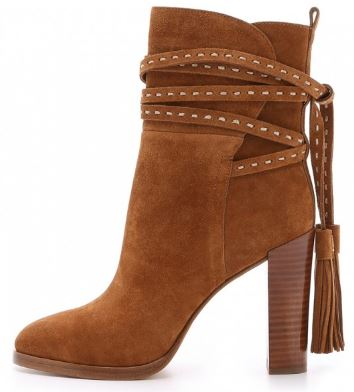 Tan Boots Suede Tassels Chunky Heels for Women 4