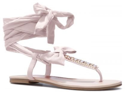 Women's Pink Bow Thong Sandals Rhinestone Decorated Comfortable Flats 2