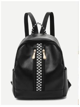 01 Checkered Detail Curved Top Backpack A