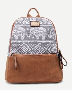 07 Geo Print Contrast Tribal Elephant Suede Canvas Backpack A
