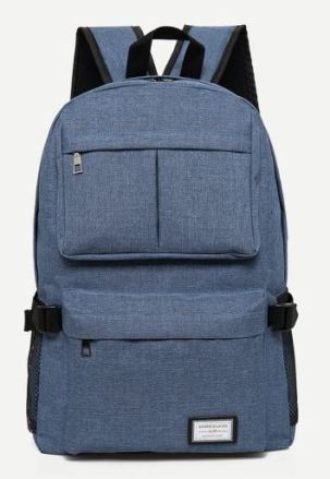 08 Blue Back or Grey Double Pocket Canvas Backpack A