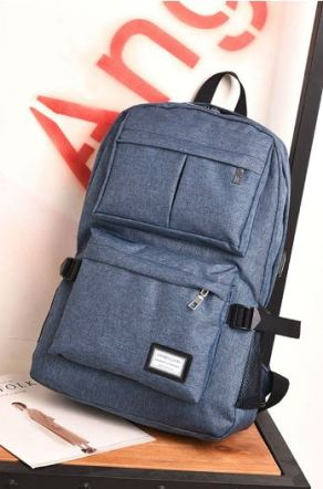 08 Blue Back or Grey Double Pocket Canvas Backpack B