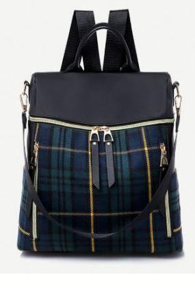 10 Tartan Plaid Detail Zipper Backpack A