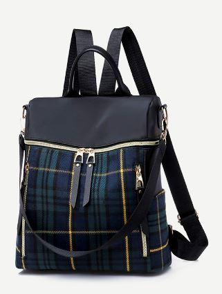 10 Tartan Plaid Detail Zipper Backpack B
