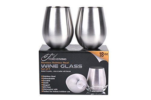 Forever Vino Stainless Steel Wine Glasses 1
