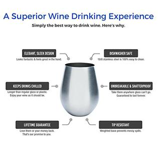 Forever Vino Stainless Steel Wine Glasses 2