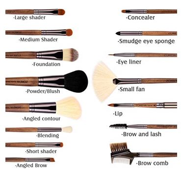 ZOREYA Makeup Brushes Real Walnut 15pc 2